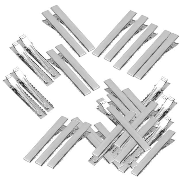 50 STÜCKE Haarspangen Mode Metall Silber Zinke Flache Clips Alligator MetallAWG