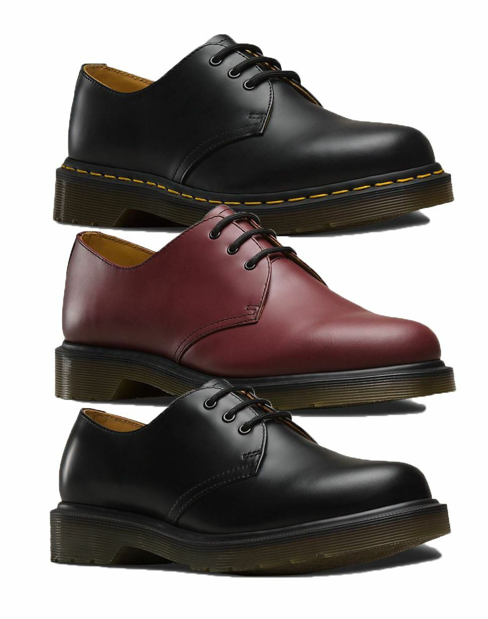 Dr Martens Boots Mens Smooth Winter Casual Low Boots Black and Cherry Red