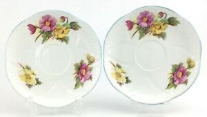 Two-Vintage-Shelley-Begonia-Flowers-Tea-Cup-Saucer-Fine-Bone-China-England-J670