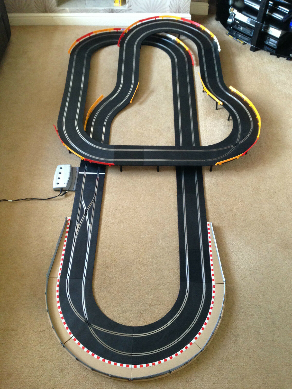 Scalextric Digital Layout with Long Flyover   Corner Xovers & 2 Digital Cars