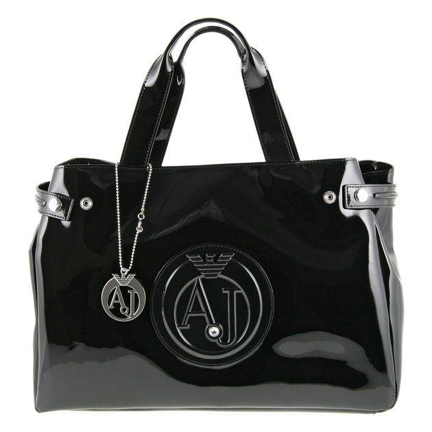 New Womens Armani Jeans Black Large Patent Synthetic Handbag Handbags