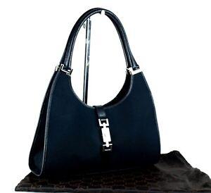 3b21e5bdc22e Authentic GUCCI Black Canvas & Leather Jackie Hobo One Shoulder Bag ...