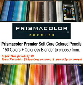 PRISMACOLOR Premier Color Pencils single.150 clrs+Colorless Blender to pick from