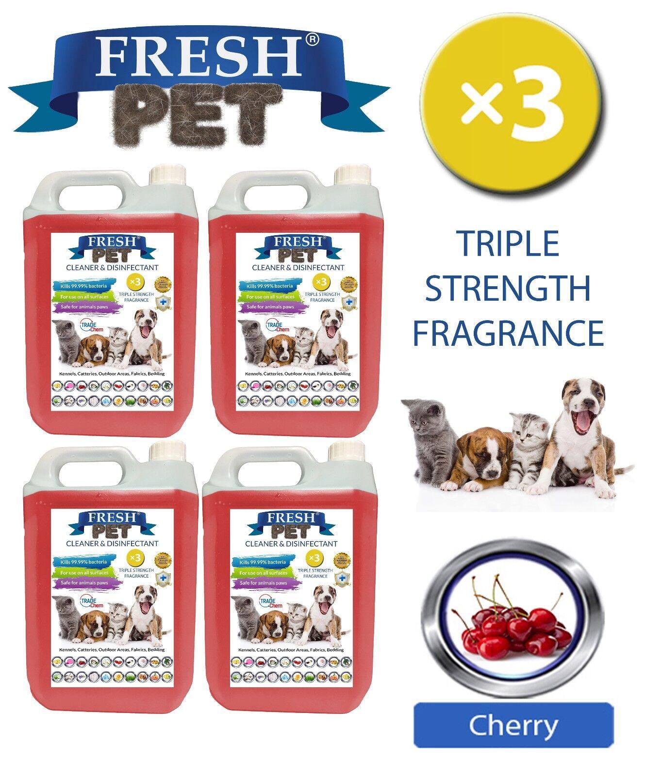 Fresh Pet Kennel Dog DISINFETTANTE Tripla Forza FRAGRANZA CILIEGIA 4x5L