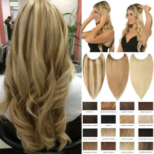 Highlight-Wire-In-On-One-Piece-REMY-Human-Hair-Extensions-Hidden-Crown-Best-T556