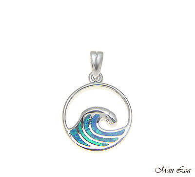 925 Sterling Silver Rhodium Hawaiian 15mm Ocean Wave Blue Opal Pendant Charm