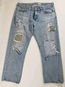 AG-Adriano-Goldschmied-The-Drew-Straight-Leg-Boyfriend-Jeans-Size-30R-Distressed