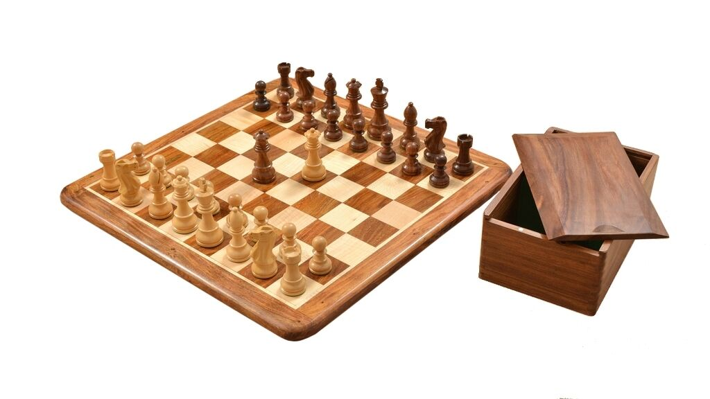 Staunton Chess Pieces in Sheesham & Box Wood with Wooden Board & Box - C0599