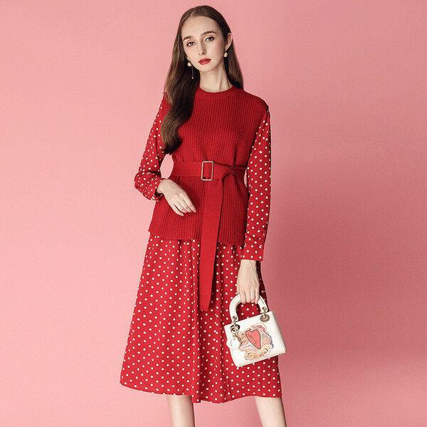 Komplett anzug kleid weste jersey rot weiss élégant komfortabel 3359