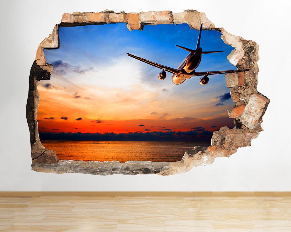 R300 Avion Sunset Sky Chambre Smashed Mur  Autocollant Chambre 3D Vinyle enfants