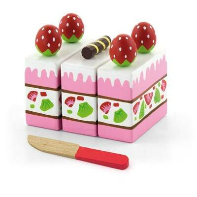 Viga Wooden Cutting food STRAWBERRY CAKE with Knife Pretend Kitchen Kids Toy