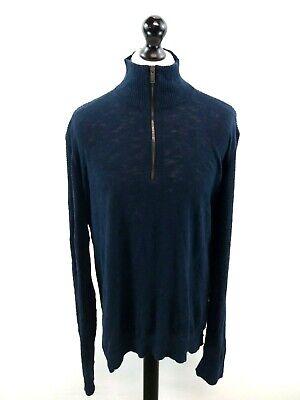 Calvin Klein Da Uomo Maglione Pullover Blu Navy Xl Cotone 1/4 Zip-mostra Il Titolo Originale Così Efficacemente Come Una Fata