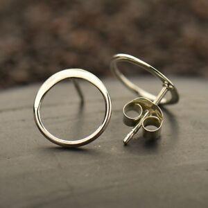 Simple-Minimalist-Sterling-Silver-925-Open-Circle-Stud-Studs-Post-Earrings
