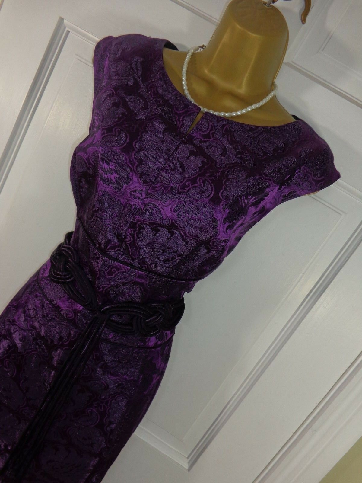 Phase Eight Purple Patterned Belted Lined Dress, Perfect Worn Once