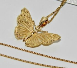 c11b97ac45bc9 Details about 9ct Yellow Gold on Silver Red Admiral Butterfly Pendant  Necklace & 18 inch Chain