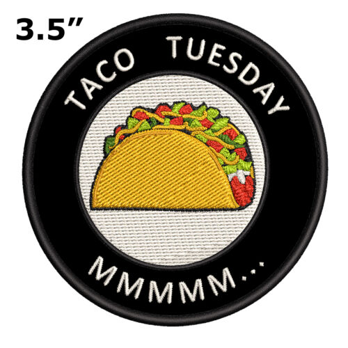 """Taco Tuesday MMM 3.5/"""" Embroidered Iron or Sew-on Patch Souvenir"""