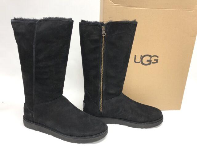 f77315b4530 Ugg Abree II Nero Black 1016590 Shearling Side Zip Women's Sheepskin Tall  Boots