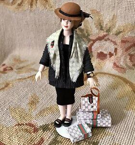 Heidi Ott Wearable Pink Silk Baby Outfit Dress and Bonnet Dollhouse Miniatures