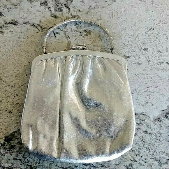 Vintage Ande Silver Lame Handbag with Bamboo Style Handle and Clasp
