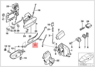 Genuine BMW E38 Sedan Inside Door Cable Handle To Lock OEM 51218215697