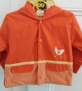 Girandola Orange à Capuche Doublé Léger 100% Coton Veste 12 Mois-afficher Le Titre D'origine