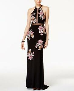 20b0fd82 Image is loading Xscape-Embellished-Floral-Halter-Gown-Size-10-Petite-