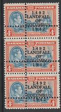 Bahamas 3672 - 1942 Landfall of COLUMBUS 4d strip oif 3  DOUBLE PERFS  u/m