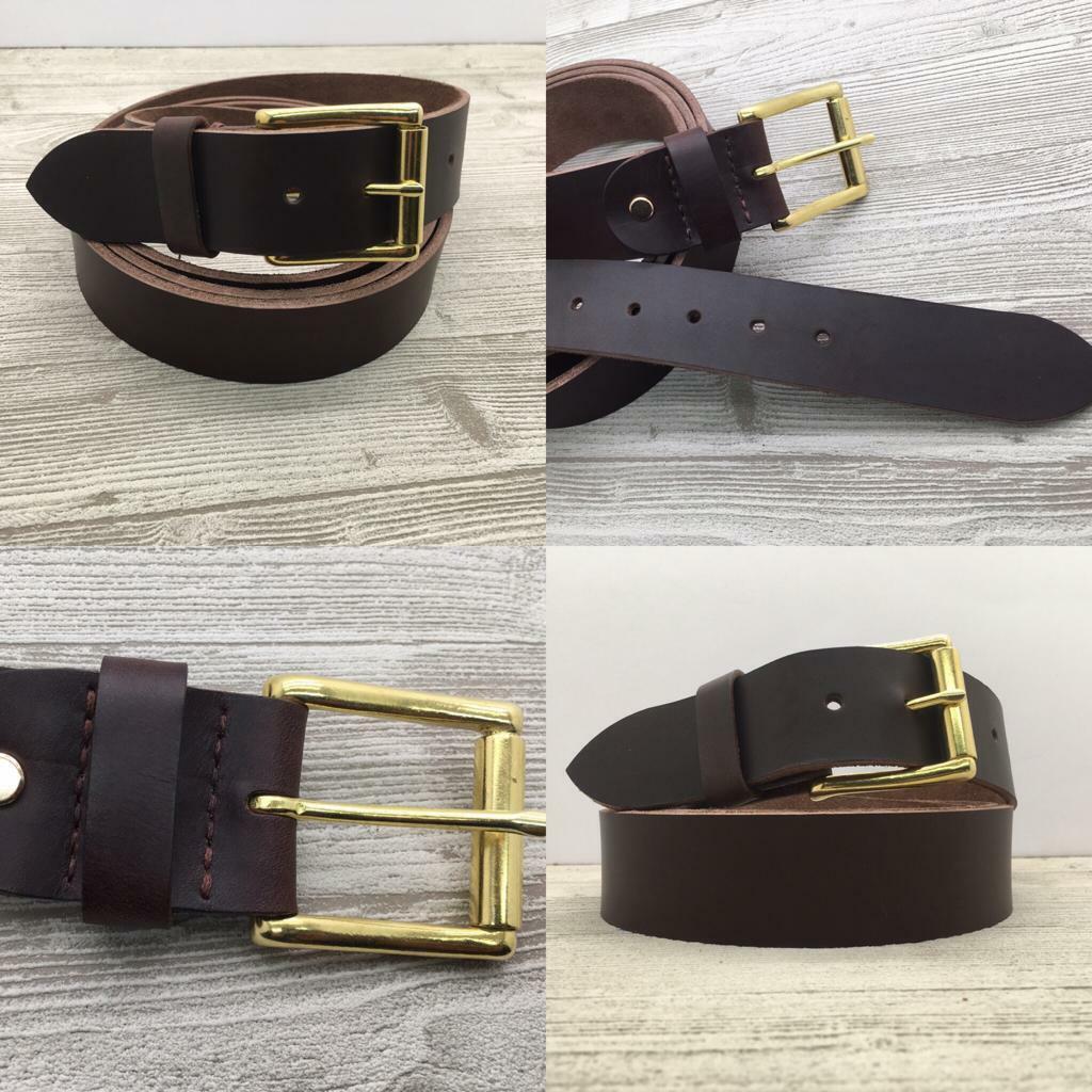 Ledergürtel Braun -2- extra Groß bis 200 cm, 4 cm breit echt Leder, Handmade