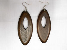 NATURAL ELEMENT LARGE RICH BROWN COLOR STAINED WOOD DANGLING PEEK A BOO EARRINGS
