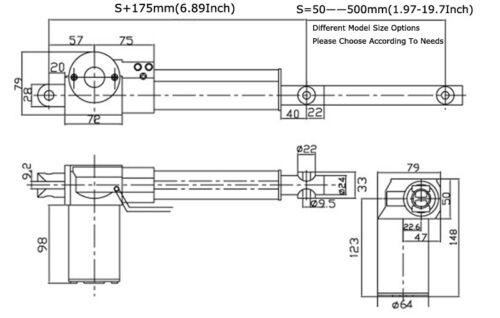 "12V /& 24V DC 6000N Electric Motor Aluminum Alloy Linear Actuator 2/""-19.7/"" New"