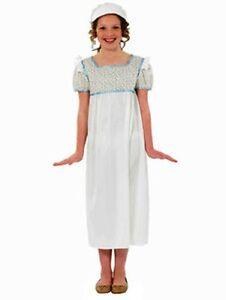 Girls-Regency-Girl-Wendy-Fancy-Dress-Costume-White-w-Flowers-And-Bonnet-New