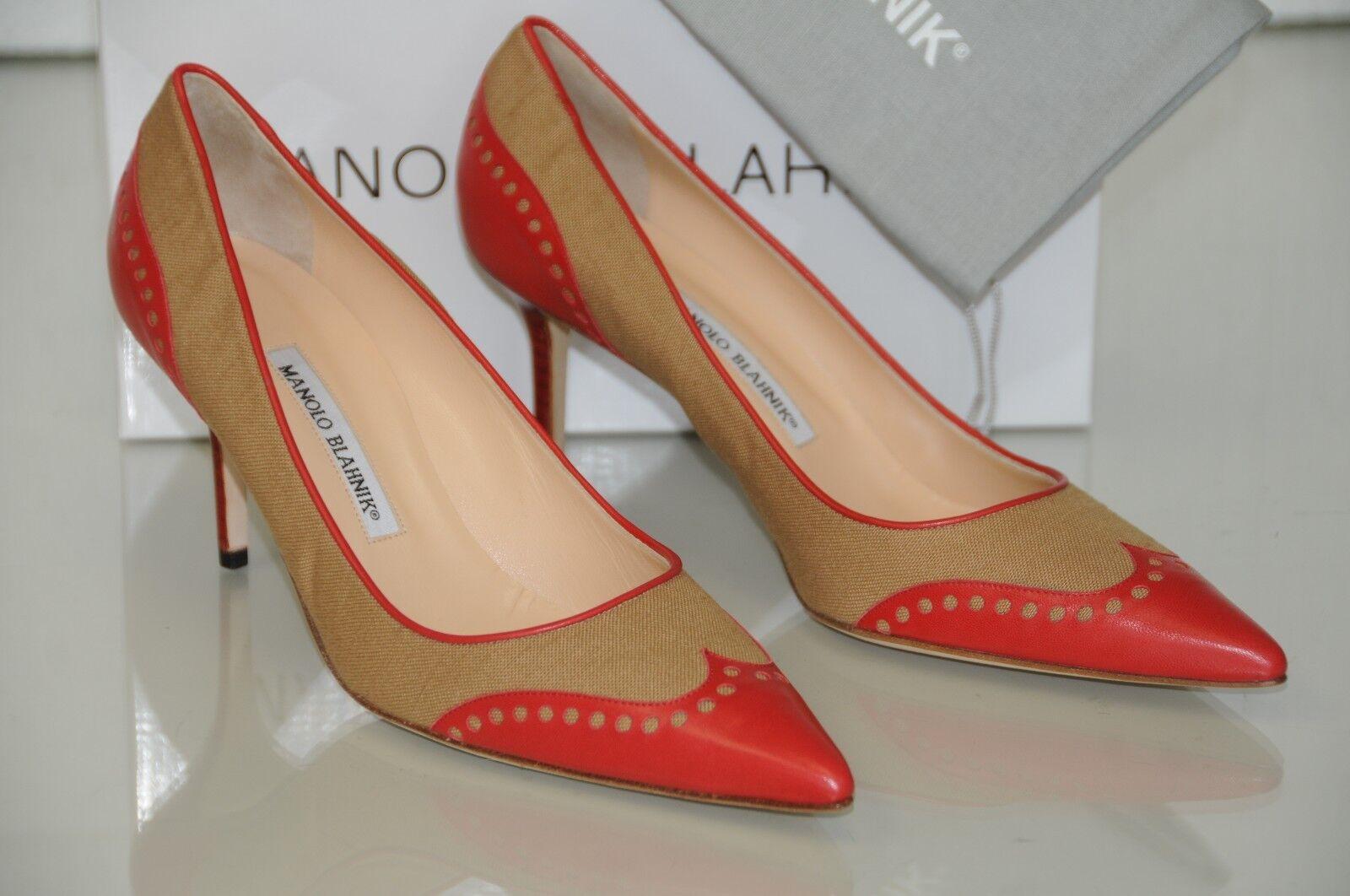 Neu Manolo Blahnik Kokette Rot Hellbraun Beige Leinen Punkte Schuhe Absätze
