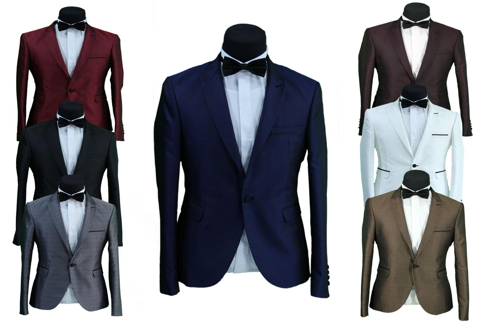 Slim Sakko in Blau•Bordeaux•Creme•Gold•Rot•Schwarz•Silber•Weiss - Anzug Smoking