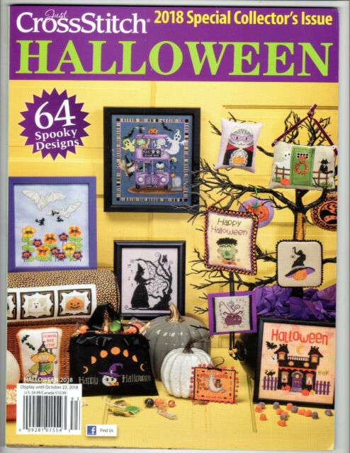 """HALLOWEEN""~Just Cross Stitch PATTERN MAGAZINE~2018 Special Issue~64 Designs~NEW"