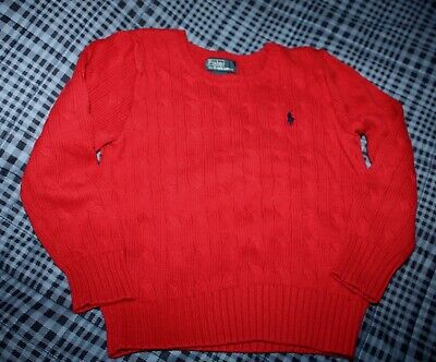 2019 New Style Polo By Ralph Lauren Long Sleeve Red 100% Cotton Cable Crewneck Sweater Size 4t Selling Well All Over The World