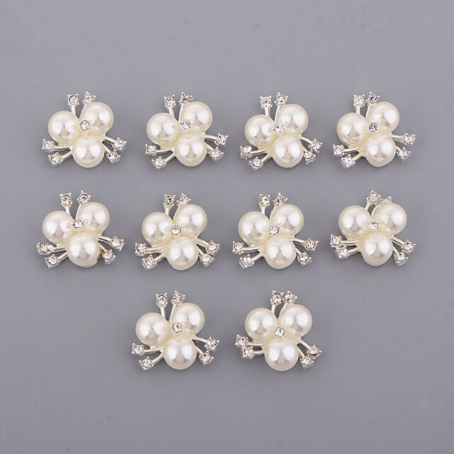 10pcs Vintage Pearl Flower Buttons Flatback Embellishment DIY Craft Silver