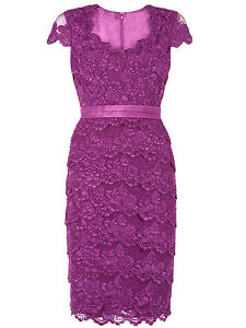 ex-Jacques-Vert-Dress-Tiered-Lace-Purple-Occasion-Dress-Wedding-Races