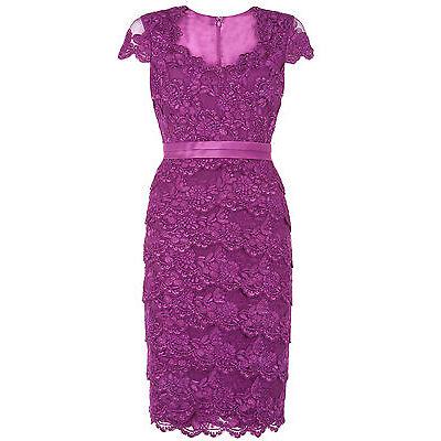 ex Jacques Vert Dress - Jacques Vert Tiered Lace Purple Dress Wedding, Races