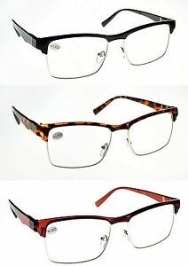 dfb8b2482b Details about Retro Fashion Half Frame Unisex Stylish Designer Reading  Glasses 3 Colours TN34