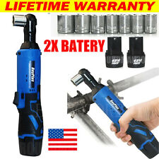 38 Cordless Ratchet Right Angle Wrench Impact Power Tool 2 Battery Amp 7 Socket