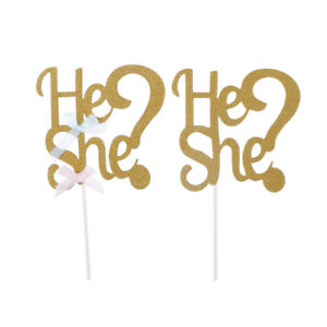 He-or-She-Cake-Toppers-Cupcake-Picks-New-Baby-Shower-Birthday-Party-Decor-VG-M