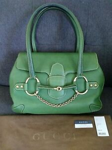 1ab1a6f0d95 Image is loading Gucci-Tom-Ford-Era-Green-Leather-Horsebit-Chain-