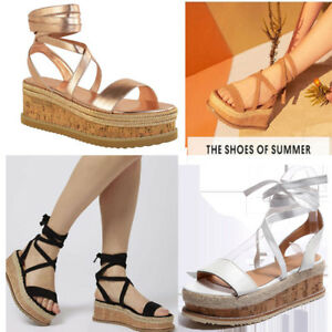 Womens Ladies Flat Wedge Espadrille Lace Tie up Sandals Platform Summer Shoes