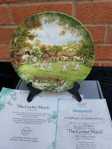 Wedgwood-Collectors-Plate-034-The-Cricket-Match-034-Boxed