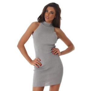 Sexy-Rollkragen-Feinripp-Strickkleid-Mini-Kleid-Armellos-Grau-34-36-38