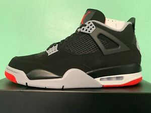free shipping 15608 e2a0d Details about 2019 Nike Air Jordan Retro 4 IV OG Bred Black Red Sz 4Y-13  308497-060