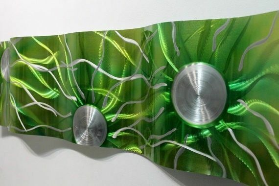 "Metal Wall Art Sculpture Decor Emerald Green Static Wave by Jon Allen 47"" x 12"""