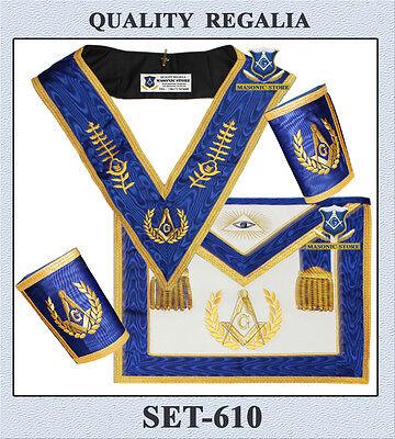 Masonic Master Mason Set ... Apron ,Collar & Cuffs Moire Ribbon SET - 610