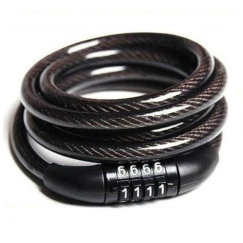 Bike Bicycle 4 Digits Code Combination Lock 1200MM Long Spiral Steel Cable Chic