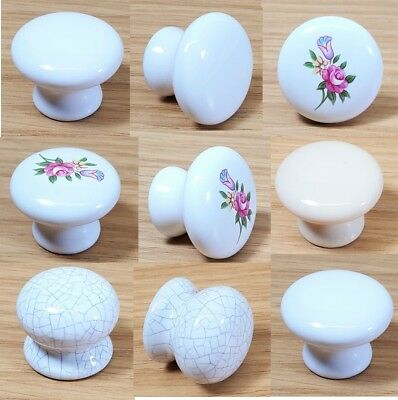 Vintage Classic Drawer Knobs White Floral Cupboard Cupboard Handle Pull